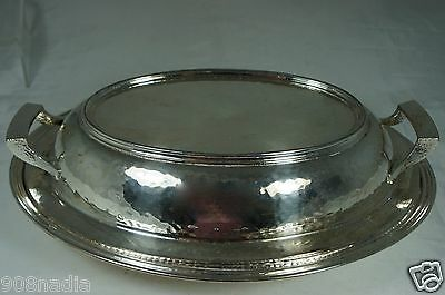 Vintage Silver Plated,chased Oval Dish/bowl/casserole W/ Lid,international