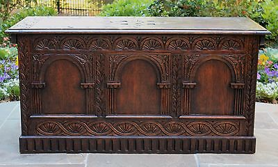 Antique English Gothic Revival Dark Oak Chest Trunk Blanket Box Coffee Table