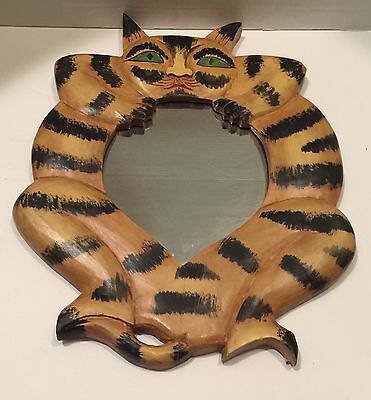 Vintage Cat Hand Painted Cat Mirror Folk Indonesia Art