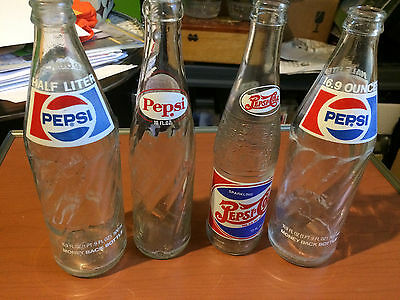 Lot of 4 Vintage Glass Pepsi Bottles cola includes limited edition replica