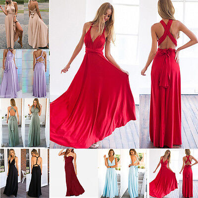 Womens Evening Party Long Cocktail Dresses Formal Prom Lace Maxi Multi-Way Dress