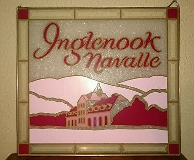 Vtg INGLENOOK WINE SIGN NAVALLE WINDOW GLASS WINE SHOP ADVERTISING STAINED GLASS