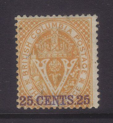 British Columbia Sg 31; 1868 25c Yellow Perf 14,Mint.cv £250