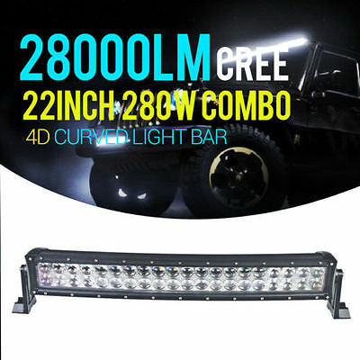 "280W 22"" 24inch 4D Led Light Bar CREE Spot Flood Curved Combo Offroad AU HXP"