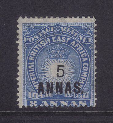 British East Africa Sg 27; 5a on 8a Blue MLH.cv £75