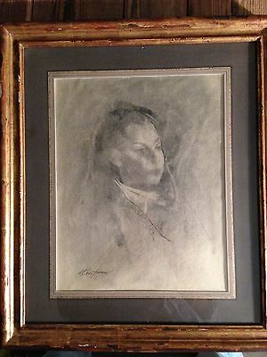 """Drawing Original Framed Charcoal  """"young Girl"""" By Stuart Kaufman 1926-2008"""