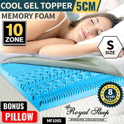 COOL GEL Memory Foam Mattress Bed Topper Single BAMBOO Fabric Cover *10 Zone 8CM