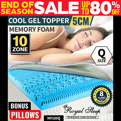 COOL GEL Memory Foam Mattress Topper Queen BAMBOO Fabric Cover 10 Zone 8CM