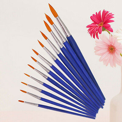 12X Round Pointed Tip Brush Artist Paint Water Color Painting Pens Sanwood Posh