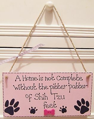 Handmade Personalised Pink Blue Plaque Sign Pet Dog Paw Breed Bone Home Gift