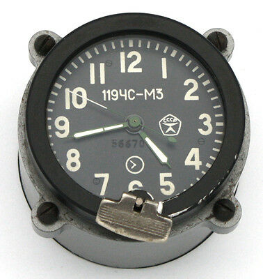 5-day / 14-jewels Soviet 70's-made Tank Clock 119CS-M3, for Tank Cockpit Panel