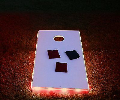LED Cornhole Board Lights Red Accessory Outdoor Battery Powered Game Party New