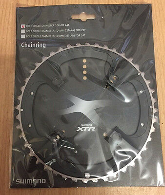 Shimano XTR M970 104mm BCD 4 Bolt Arm 9-Speed Outer Mountain Bike Chainring, 44T