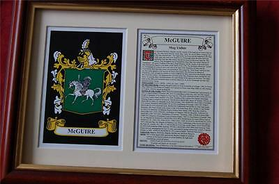 McGUIRE Family Heraldic FRAMED Coat of Arms Crest and History
