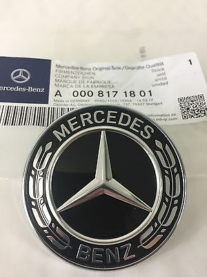 Genuine Mercedes-Benz Black Wreath Flat Bonnet Badge Emblem A0008171801 NEW