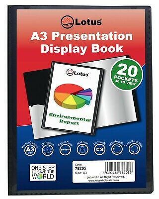 A3 BLACK 20/40/60 POCKET Pro. PRESENTATION DISPLAY BOOK FOLDER ecoeco Recycled