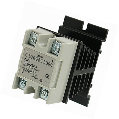 uxcell SSR-25 DA 25A 3-32V DC / 24-380V AC Solid State Relay + Heat Sink