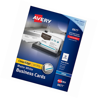 Avery Two-Side Printable Clean Edge Business Cards for Inkjet Printers, Matte, W