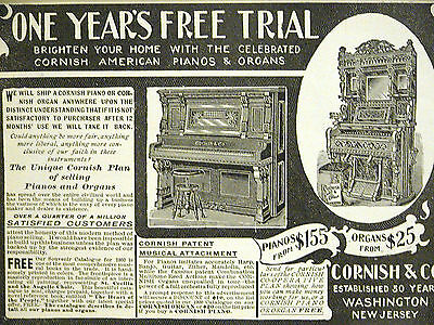 Cornish & Company PIANOS ORGANS Washington New Jersey Print Advertising Matted