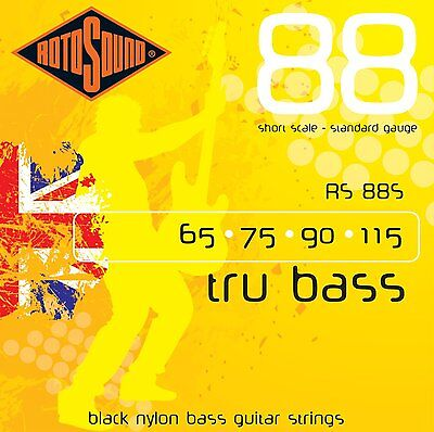 Rotosound Rs88S Black Nylon Flatwound 4 String Bass Guitar Strings Short Scale