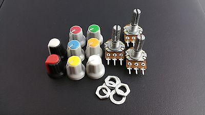 B10K Potentiometer Pot + nuts and washers + knobs(x3) Choice of coloured knobs