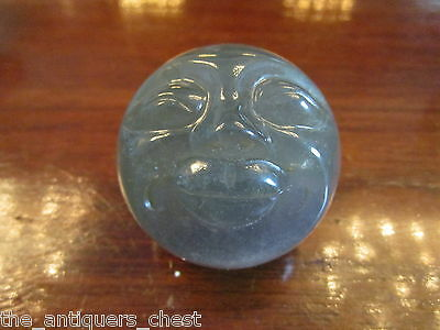 Fluorite Moon Face Carving  1 3/4 sphere shaped paperweight carving in Fluorite