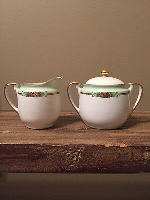 Antique Creamer And Sugar Bowl With Lid