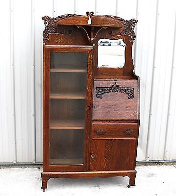 1900 1910 Router Carved Quartersawn Oak 4 Lion Head Secretary Bookcase Desk