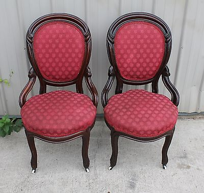 2 1870 1880s VICTORIAN WALNUT BALLOON BACK HIP REST PARLOR ROOM CHAIRS