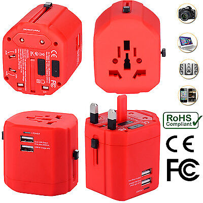 Universal World Travel Adapter With Dual USB Charger Wall AC Power -Red