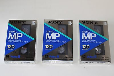 Lot of (3) Sony Metal MP 120 Video8 8mm Video Cassette Tapes P6-120MP Sealed