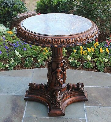 Antique French Carved Walnut ROUND Marble Top Pedestal WineTable Recumbent Lions