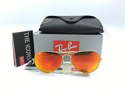 Ray Ban Aviator RB3025 112/4D 58/14 Matte Gold Polarized Red Mirror Lens 58mm