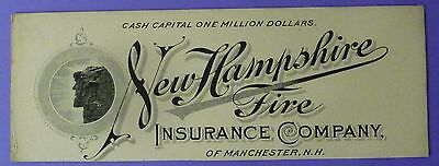Ink Blotter Circa 1890 NEW HAMPSHIRE FIRE INSURANCE CO of MANCHESTER, NH  MINT