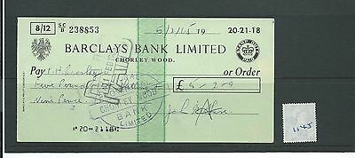 wbc. - CHEQUE - CH1145- USED -1965 - BARCLAYS BANK, CHORLEY WOOD