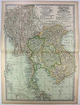 Original 1897 Map of Southeast Asia - Burma Siam French Indochina