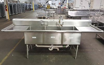 Win-Holt Stainless Steel 3 Compartment Commercial Sink with Two Drainboards