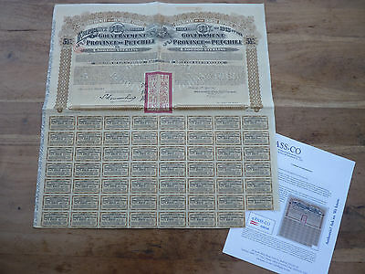 China, Gold Loan of the Government of the Province of Petchili 1913 + PASS-CO !