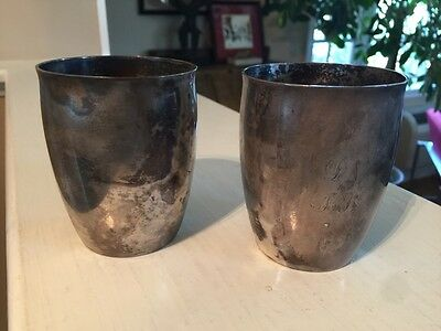 Antique early 1800's American Coin silver BEAKER CUP set * Marked M&W