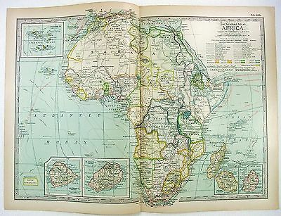 Original 1897 Map of Colonial Africa by The Century Company