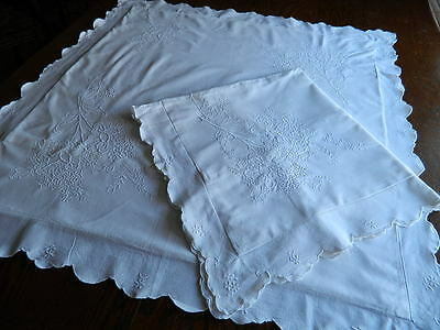 EURO SHAM SET Antique Maderia Style White on White Embroidery PILLOW COVER