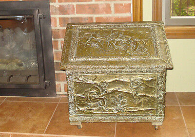 "Antique Embossed Hammered Brass Coal Scuttle Firewood Kindling Box  19"" length"
