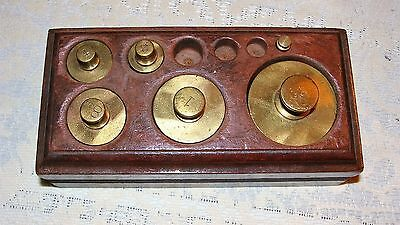 Vintage Set Of Scale Weights And Wood Case