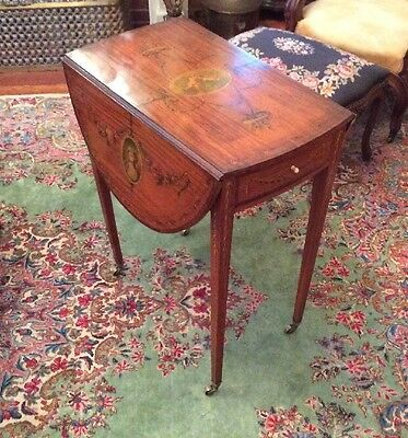 Fine Antique English Edwardian Satinwood Adams Style Paint Decorated Table
