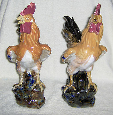 "Hand Painted 13"" Ceramic Rooster/Chickens"