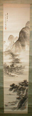 Vintage Japanese Quiet Poem Landscape Sumi-E Hand Painted Scroll Kakejiku 317