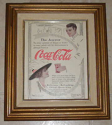 Original Early 1900's Coca Cola Framed  Soda Jerk Arrow Advertisement Sign Ad