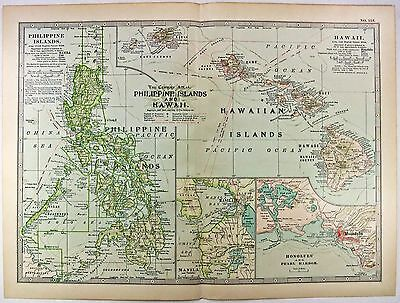 Original 1898 Map of The Philippine Islands and Hawaii by The Century Company