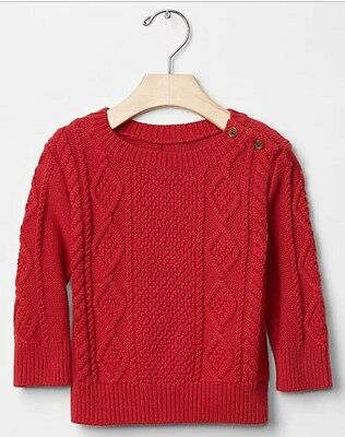 Baby Gap Toddler Boys Red Cable Knit Button Sweater NWT 6-12 Months