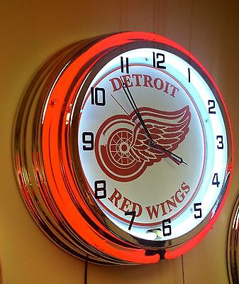 """DETROIT RED WINGS RED AND WHITE NEON CLOCK  - 19"""" Diameter"""